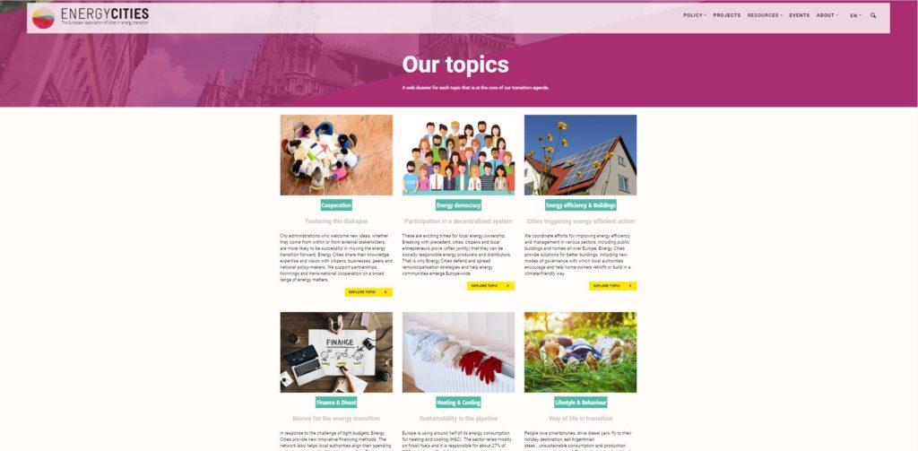 Screenshot Energy Cities topics page
